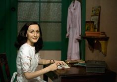 this is a wax figure of Anne frank at madame Tussaud's, Berlin. Its scary alike