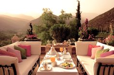outdoor patio with mountains as backdrop