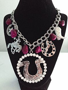 Necklace Western Chunky Charm Horseshoe Rhinestone Chain Cowgirl Pink Stone New #ssfashion #Charm