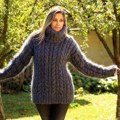 Dark Grey Cable Hand Knitted Mohair Sweater Fuzzy Turtleneck by EXTRAVAGANTZA #EXTRAVAGANTZA #Turtleneck