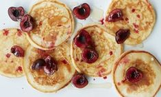 How to make lemon ricotta pancakes whats cooking with julie ricotta pancakes with sour cherries clotted cream and honey ccuart Image collections