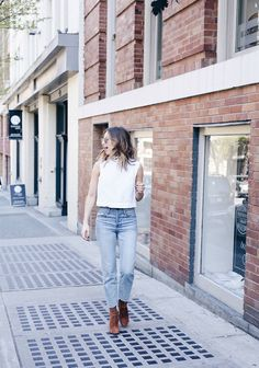 crop top jeans neck scarf street style