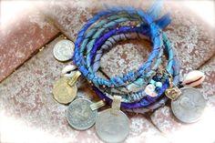 Jodhpur Tribal Gypsy Bangle Stack Bracelets - Silk Ceramic and Kuchi elements Bohemian by TerraDreams for 51.50 USD