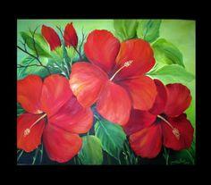 oleos de flores rojas - Buscar con Google