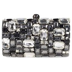 Natasha Couture Crystal Embellished Clutch (275 BRL) ❤ liked on Polyvore featuring bags, handbags, clutches, frames & background, glitter, purses, black combo, black hand bags, black clutches and glitter clutches