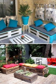 outdoor shipping pallet furniture ideas white painted bench colorful cushion