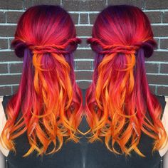 Rainbow Hairs / Rainbow Hair # Hair # Hairstyles hair – Julie Home - Weißes Haar Pretty Hair Color, Beautiful Hair Color, Hair Color And Cut, Fire Hair Color, Cheveux Oranges, Vidal Sassoon Hair Color, Flame Hair, Pelo Multicolor, Sunset Hair
