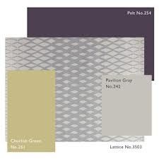 Farrow and Ball Churlish Green paired with greys and purples