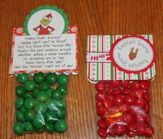 "Cute Christmas craft. *This is the M version of another pin with the same idea, using Tic Tacs, green for Grinch Pills, and white for Snowman Poop!! Maybe these ideas could be combined, by adding coconut-flavored M's, which are white, as the Snowman Poop. Meant for stocking stuffers, but these are cute enough to be gifts too (though some could possibly take offense to the ""poop"")."