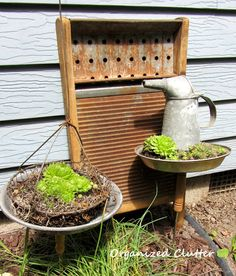 Re-purposed Meat Forks in the Garden Thrift shop meat fork/pie pan junk garden succulent planters. Rustic Gardens, Outdoor Gardens, Garden Junk, Home And Garden, Outdoor Projects, Outdoor Decor, Outdoor Living, Diy Projects, Outdoor Stuff