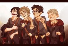 The Beginning by viria13.deviantart.com I love how Remus is holding a half eaten Chocolate bar :)