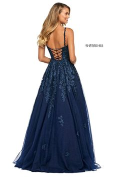 Dark Blue Prom Dresses, Pretty Prom Dresses, Sherri Hill Prom Dresses, Prom Dress Stores, Stunning Prom Dresses, Senior Prom Dresses, Dress Shops, Different Prom Dresses, Blue Lace Prom Dress