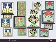 evi's Boho wall tiles Bohemian Theme, Boho, Sims Community, Electronic Art, Wall Tiles, Sims 4, Gallery Wall, Wall Decor, Frame