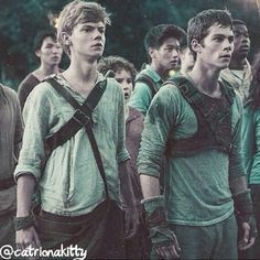 Thomas Sangster and Dylan O'Brien in maze runner