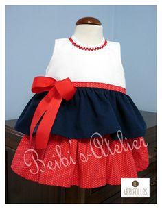 Vestido de niña tricolor: azul, rojo y blanco - Moda infantil - Mercadillos BC