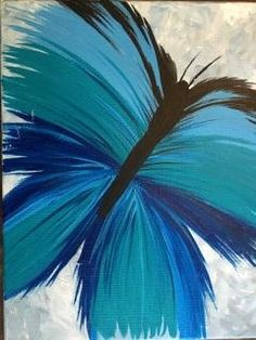 Acrylic Painting Abstract Butterfly with Blues