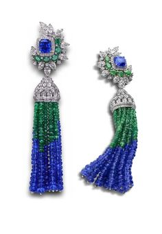 House of Rose earrings w/ tanzanites, emeralds & diamonds. With its deep, inky, purplish-blue allure, tanzanite jewelry is usurping the long-ruling dynasty of the emerald & ruby. Tassel Jewelry, Gems Jewelry, High Jewelry, Bling Jewelry, Jewelry Art, Jewelery, Vintage Jewelry, Fashion Jewelry, Tassel Earrings