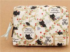 white Kutusita Nyanko pouch with cats and strawberries