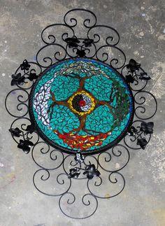 4 seasons yin yang, recycled mirror frame, glass