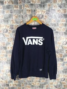 5f616c364c VANS Of The Wall Sweatshirt Blue Medium Vintage 90s Streetwear Pullover Vans  Jumper Sweaters Size M