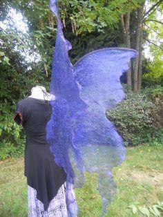 Gauzey fairy wings <3 !Dark COBALT BLUE HUGE Lifesize Gothic Fairy Queen Wings Adult Costume xl dress up wicca Dark angel gypsy steampunk Boho emo larp realistic