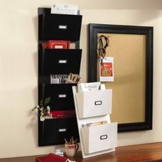 mailing system.........(1) inbox catchall on counter, (2) 3 hanging file folders - do now (within week), do later (within 3 months), pending, (3) paper shredder, (4) file cabinet or bin to transfer to long term filing once a month