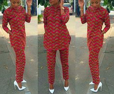 African print pants and top set african by CoCoCremeCouturier