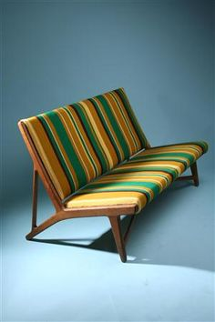 Sofa    Designed by Hans Wegner for Johannes Hansen, Denmark. 1950's.    Solid oak and original wool upholstery.