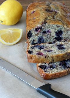 Blueberry Lemon Quick Bread with Walnuts