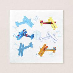 Vintage Airplane Airshow Aviator Compass Bonviage Paper Napkin - birthday diy gift present custom ideas