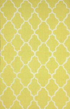 "Rugs USA Homespun Trellis HK86 Yellow Rug. Right now $54.60 for 3'6""x5'6"" 100% wool."