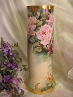 """Absolutely Magnificent PINK BURGUNDY WINE YELLOW ROSES Impressive Large 14"""" Tall Exceptional Antique Porcelain Willets Belleek Vase Hand Pai..."""