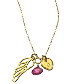 Naomi Gray Angel Wing Initial Birthstone Necklace