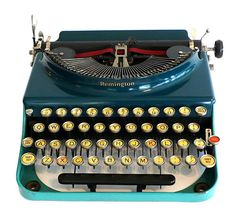 The original portable blue Remington typewriter, 1927.