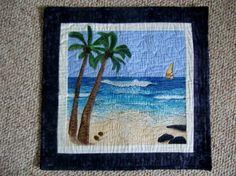 Tropical beach landscape quilt