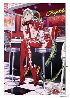 """めめんち on Twitter: """"開店準備がめんどくさい蛇のメイドさん🐍… """" Character Inspiration, Character Art, Character Design, Pretty Art, Cute Art, Manga Art, Anime Art, Aesthetic Art, Japanese Art"""