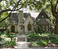 A little bit of a fixer upper but LOVE this home! Love the greenery and the french cottage look. Definitely my dream home. Cute Cottage, Beach Cottage Style, Cottage Style Homes, French Cottage, Tudor Cottage, English Cottage Exterior, Storybook Homes, Storybook Cottage, Tudor House