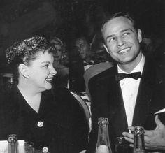 Brando and Garland at a Hollywood party  Marlon Brando with Judy Garland at the Golden Globe C.1955.