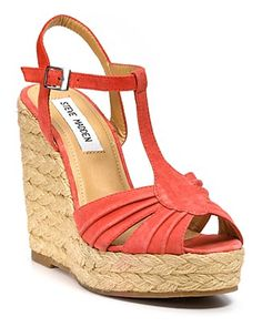 Wedge. Dropped ankle. T-strap. Open toe. Perfect.