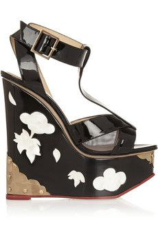 Charlotte Olympia Jasmine patent-leather and mother-of-pearl wedge sandals | NET-A-PORTER