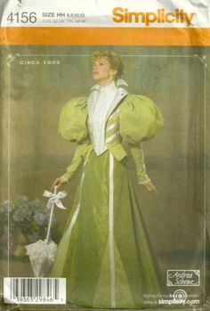 Circa 1895 Simplicity 4156 Misses Andrea Schewe Costume Pattern  - by pattern gate ala My Fair Lady