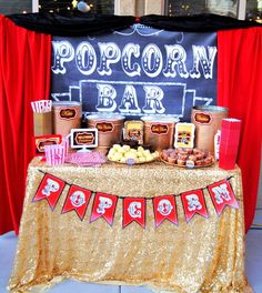 Hollywood PARTY- Movie Party- POPCORN BANNER- Cinema Party