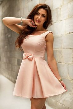Lovely Peach Soft Colour Dress with Bow. Cosy and Fashionable summer dresses.