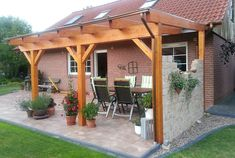 Pergola For Small Backyard Backyard Seating, Backyard Patio, Backyard Landscaping, Patio Roof, Back Patio, Pergola Roof, Pergola Diy, Pergola Ideas, Rustic Houses Exterior