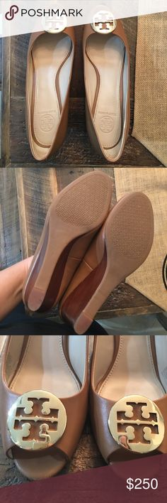 Tory Burch Kara Wedge Royal Tan Size 8 WORN ONCE and mostly indoors on carpet.   You can see there is zero wear on the bottom, inside and back of the wedge.  Mint condition. Tory Burch Shoes Wedges