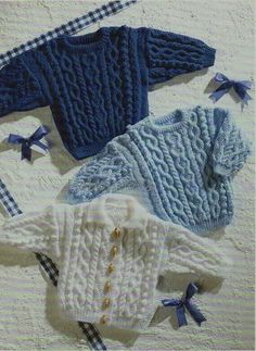 Baby Knitting Patterns Modern Baby / childs / childrens cable jumper / sweater & cardigan to 24 inch chest. Baby Sweater Patterns, Baby Cardigan Knitting Pattern, Knit Baby Sweaters, Baby Knitting Patterns, Baby Patterns, Knitting Sweaters, Knitting Ideas, Crochet Ideas, Men's Knits