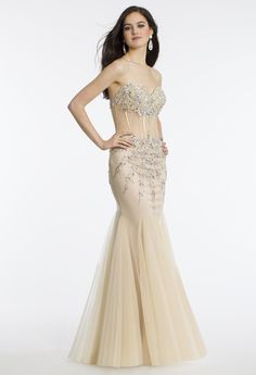Camille La Vie Strapless Illusion Corset Prom Dress