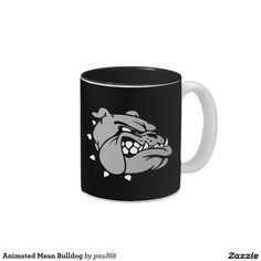 Animated Mean Bulldog Two-Tone Coffee Mug