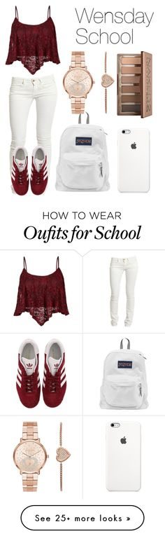 """""""Wednesday School"""" by kellyaguilera on Polyvore featuring Replay, adidas, JanSport, Michael Kors, Urban Decay, school, teen, copycat and causual"""