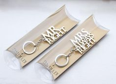 Set Of 2 Mr And Mrs Always Right Keychain
